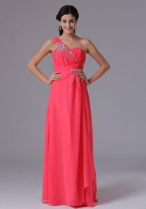 Coral Red Floor-Length One-Shoulder Ruched Appliqued Pageant Dress in Kingston