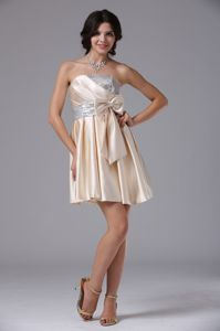 Champagne Strapless Mini-Length Sequin Satin Beauty Pageant Dress with Bow