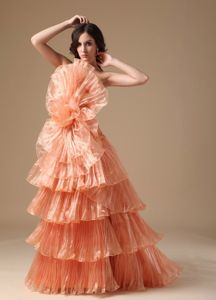 Orange Red A-Line Layered Pleated Strapless Pageant Dresses with Large Flower