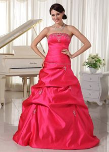 Appliqued Coral Red Strapless A-Line Girl Pageant Dresses with Pick-ups in Milton