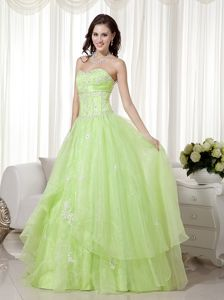 Yellow Green Sweetheart Ball Gown Prom Pageant Dresses with Appliques in Laval