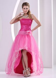 Hot Pink Sequin Strapless High-Low Pageant Dress for Girls with Flower in Brantford