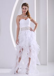 Sweetheart White Asymmetrical Ruched Pageant Dress with Ruffles in Saguenay