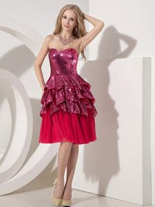 Fuchsia Sweetheart Layered Short-Length Sequin Pageant Dress for Girls in Laval