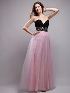 Black and Baby Pink Sweetheart Pageant Dress with Beaded Waist in Windsor