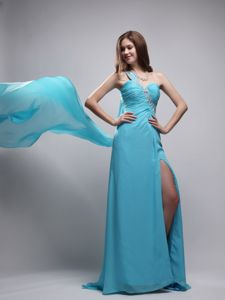 Baby Blue One-Shoulder Ruched Appliqued Pageant Dress with Slit and Watteau