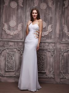 One-Shoulder White Floor-Length Beaded Prom Pageant Dress with Cutout Waist