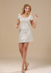 Silver Scoop Short Sleeves Mini-Length Sequin Pageant Dress for Girls in Guelph