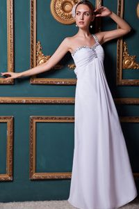 Special White Beaded One Shoulder Long Pageant Dresses For Miss America