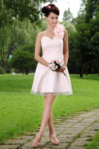 Light Pink A-line One Shoulder Tulle Pageant Dresses For Girls with Flowers