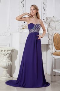 Special Purple Elastic Wove Satin Column Glitz Pageant Dresses with Beading