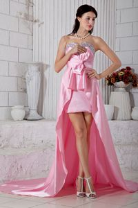 Rose Pink Sweetheart High-low Taffeta Prom Pageant Dresses in Germany