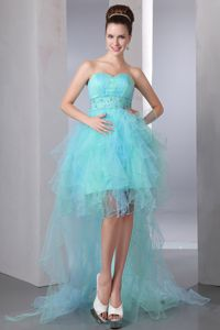 Aqua Blue A-line Sweetheart Pageant Dresses with Beading in Moscow