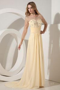 New Light Yellow Beaded Chiffon Prom Pageant Dresses with Brush Train