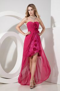 New Hot Pink Sweetheart High-low Chiffon and Lace Youth Pageant Dresses