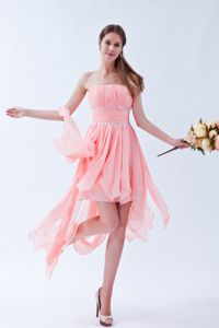 Watermelon Strapless Honolulu Pageant Dresses with Asymmetrical Hem