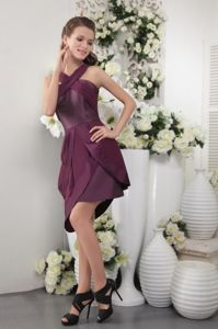 Exquisite Purple Asymmetrical Short Pageant Dresses For Miss USA in Chicago