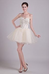 Sweetheart Beaded Short Organza Beauty Pageant Dresses in Champagne