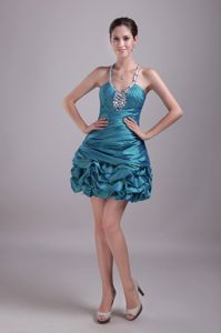 Teal Princess Halter Top Taffeta Pageant Dress with Rhinestones in Norway