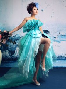 Exquisite Strapless Turquoise Pageant Dresses For Miss World in Apple Green