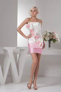 Lovely White and Baby Pink Strapless Ruched Pageant Dress with Flower