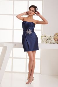 Navy Blue Strapless Mini-length Ruched Dresses For Pageants with Beading