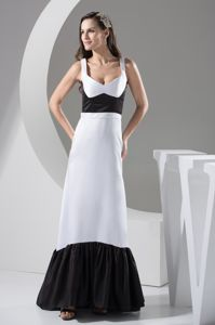 Elegant Black and White Zipper-up Satin Long Girl Pageant Dress with Ruffles