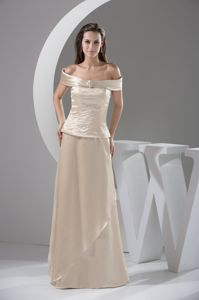 Off-the-shoulder Beaded Long Pageant Dresses For Miss World in Ivory