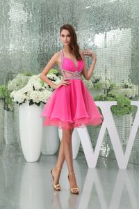 Dressy Hot Pink Halter Top Organza Miss Universe Pageant Dress in Novato