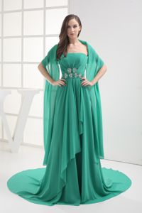 Turquoise Ruched Pageant Dress with Cathedral Train in Robbinsdale