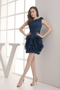 Navy Blue Pageant Dress with Flower on One Shoulder in Perham