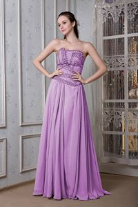Purple Chiffon Floor Length Pageant Dress with Beads in Saint Bonifacius