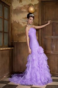 Lilac Pageant Dress with Handmade Flower and Cathedral Train in USA