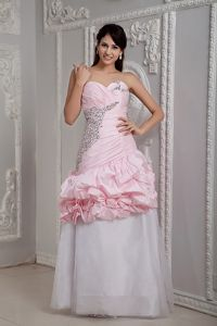 Baby Pink and White One Shoulder Pageant Dress with Beads in Finland