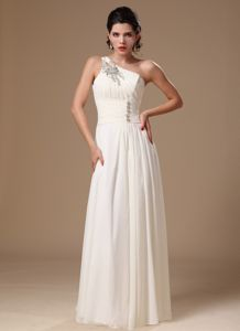 White One Shoulder Chiffon Pageant Dress with Appliques in Eveleth