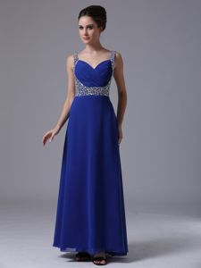 Royal Blue Chiffon V-neck Pageant Dress with Beaded Straps n Wixom