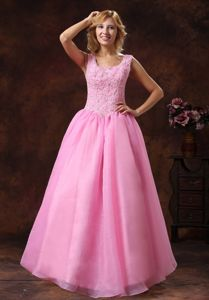 Rose Pink Scoop Neckline Pageant Dress with Appliques in Oscoda