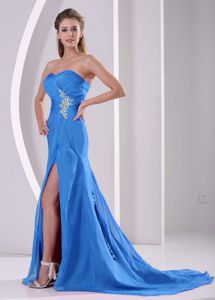 Blue Pageant Dress with High Slit and Cathedral Train in Lewiston