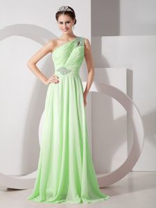 Yellow Green One Shoulder Chiffon Pageant Dress with Beads in Nevis