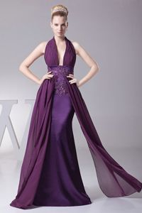 Sexy Purple Chiffon Pageant Dress of Halter in Floor Length in Stacy
