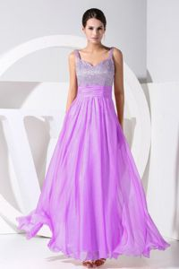 Purple Beaded Sweetheart Chiffon Pageant Dress in North Oaks