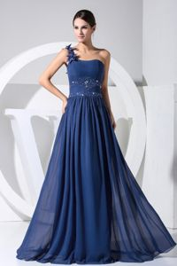 Navy Blue One Shoulder Pageant Dress of Chiffon in Pelican Rapids