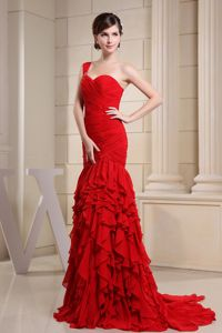 Red Mermaid Pageant Dress with Layers and Ruching Attached Watteau