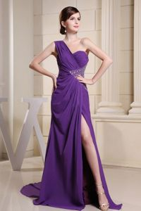 One Shoulder Purple Chiffon Pageant Dress with High Slit in Shelby