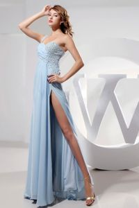 Light Blue Beaded Chiffon Pageant Dress with One Strap in Wyoming