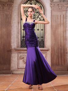 Purple Mermaid Ruched Pageant Dress Embellished Beading in Afton