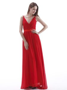 Red Chiffon Floor Length V-neck Pageant Dress in Vadnais Heights