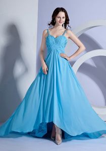 Flowing Blue Dress with Cathedral Train and Beaded Straps in Laval