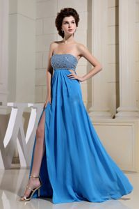 Blue Beaded Bodice Pageant Dress with High Slit and Lace Up Back