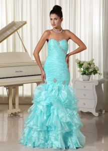 Ruched Pageant Dress Decorated Beading and Ruffled Layers in Canada